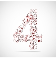 number four made from music notes vector image