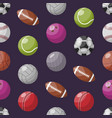 pattern with various sportive balls vector image