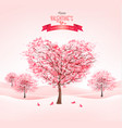 pink heart-shaped sakura trees valentines day vector image