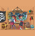 pirate kids in cabin vector image vector image
