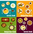 Rustic dishes of Greece and Bulgaria flat icons vector image vector image