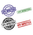scratched textured hpv infection stamp seals vector image vector image