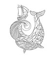 sea dudling drawing hand-drawn whale wave vector image vector image