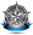 Sophisticated emblem with silver glossy star and