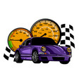 speeding race car with abstract motion blur lines vector image