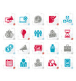 stylized business management concept icons vector image vector image