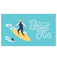 summer postcard template with male surfer on vector image vector image