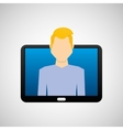 tablet black technology and character blond man vector image