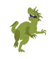 terrible dinosaur is roaring green dino hand vector image