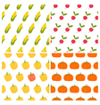 Vegetables seamless patterns set Healthy food vector image vector image