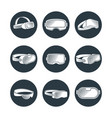 virtual reality glasses and helmets icons vector image