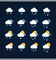 weather icons sun and clouds in summer sky rain vector image