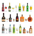 alcoholic bottles and glasses in vector image