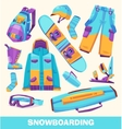snowboarding elements clothes and tools vector image
