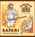 african safari hunting retro poster vector image