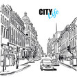 black and white city street template vector image vector image