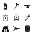blacksmith equipment icon set simple style vector image vector image