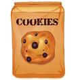 Brown bag of chocolatechip cookies vector image vector image
