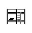 bunk bed black icon sign on isolated vector image vector image