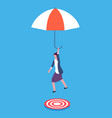 businesswoman with umbrella aiming on target vector image vector image