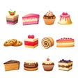 Cakes and sweets set vector image vector image