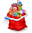 Cartoon of red sack with contains gift isolat vector image vector image