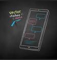 chalk drawn smartphone vector image vector image