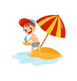 cheerful little boy putting toy sailboat into vector image vector image