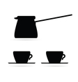 coffee pot and coffee cups black vector image vector image