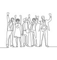 continuous one line drawing happy team office vector image