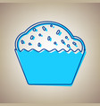 cupcake sign sky blue icon with defected vector image vector image