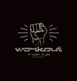 emblem of workout club with a image of a fist vector image vector image