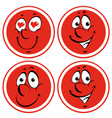 facial expressions on red circle vector image vector image