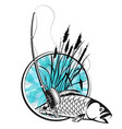 fish in the reeds silhouette vector image vector image