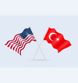 flag usa and turkey together a symbol vector image