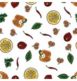 food pattern hand drawing in doodle style doodle vector image vector image