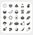 Fruits and Vegetables Icons with frame background vector image vector image