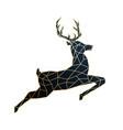 geometric jumping deer polygonal golden deer vector image vector image