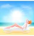 Girl suit lying on a chaise lounge vector image