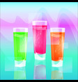 glasses of colorful drinks with ice cubes set of vector image