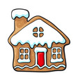 glazed house-shaped christmas gingerbread cookie vector image