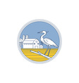 Great Blue Heron Farm Barn Circle Retro vector image vector image