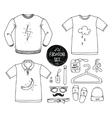 Hand drawn clothing set Blank t-shirt polo vector image