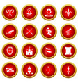 knight medieval icon red circle set vector image vector image