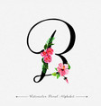 Letter b watercolor floral background