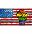 lgbt protest fist on a usa brick wall flag vector image vector image