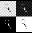 magnifying glass icon isolated on black white and vector image