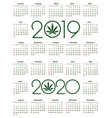 marijuana calendar for 2019 and 2020 year vector image vector image