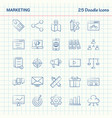 marketing 25 doodle icons hand drawn business vector image vector image