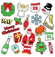 Merry Christmas Badges Patches Stickers - Santa vector image vector image